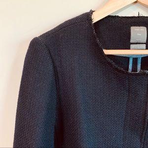 GAP Black Wool Raw Edge Zipper Blazer Size 12